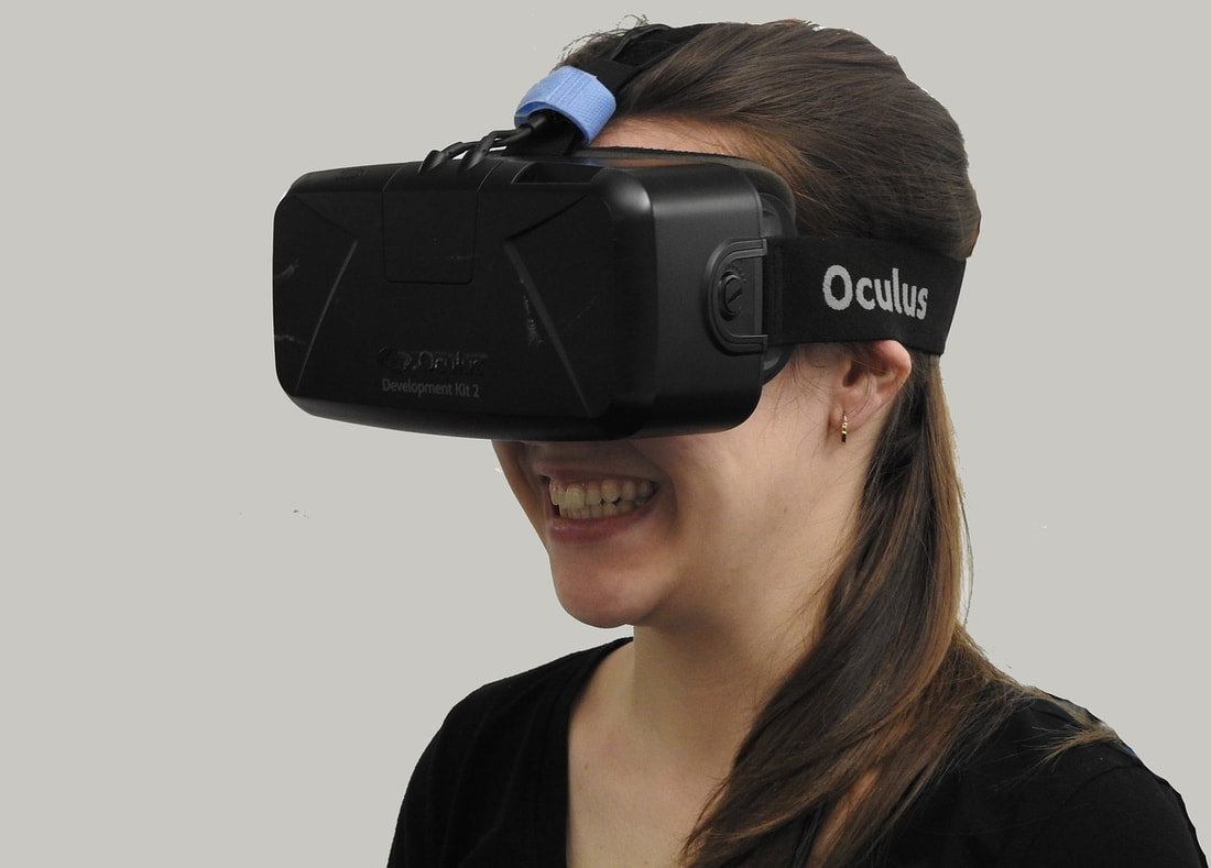 Girl with virtual reality headset.